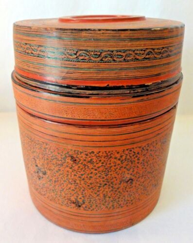 Antique Betel Nut/Meat Box from Southeast Asia - Dyed Horsehair Depicts a Story