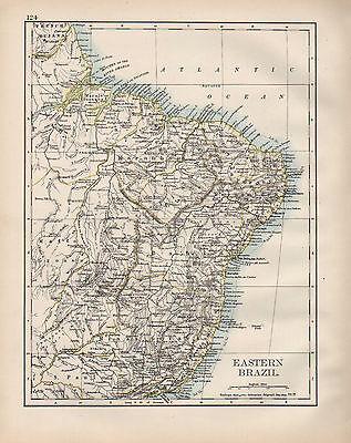 1899 VICTORIAN MAP ~ SOUTH AMERICA ~ EASTERN BRAZIL AMAZON