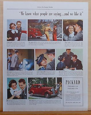 Vintage 1930's magazine ad for Packard - photo story of couple buying Packard