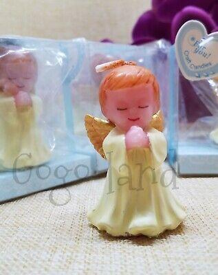 6 Baptism Favors Angel Boy Figure Candle Recuerdos De Bautizo -