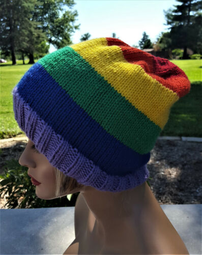 Rainbow Slouchy Hat Hand-Knitted