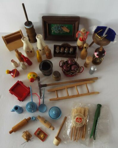 Dollhouse & Doll Wood Accessories - Lot of Over 40 Vintage Miniatures
