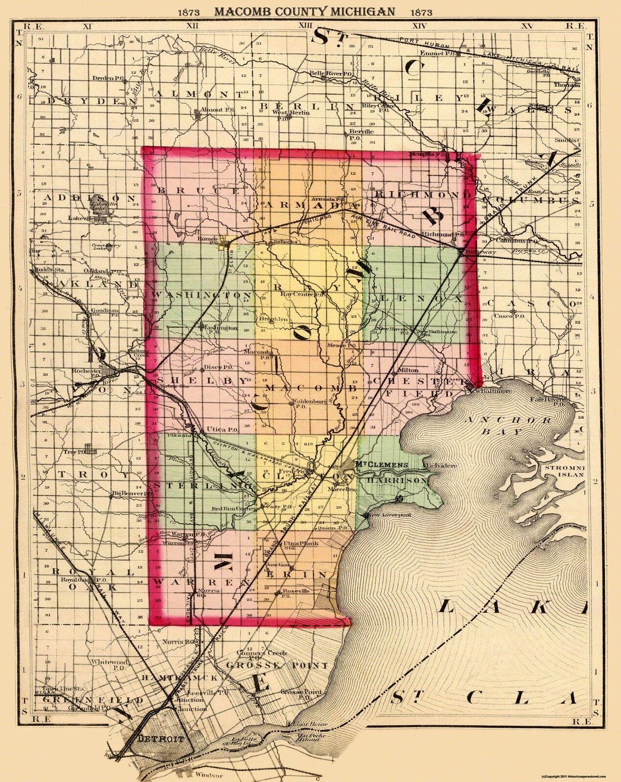 Old County Map - Macomb Michigan - 1873 - 23 x 29 | eBay