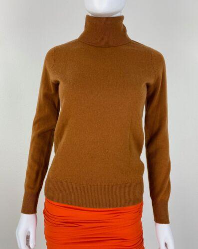 Neiman Marcus New 4 6 US 42 IT S Brown Rust Cashmere Turtleneck Sweater Runway