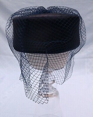 Vintage Blue Pill Box Hat with Veil, 1970s/1980s