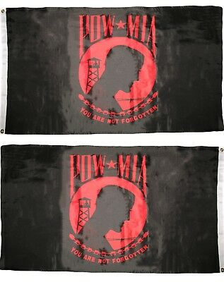 5 Double Sided Polyester Flag (Pow Mia You Are never Forgotten Red/Black 3x5 Flag Double Sided 2ply)