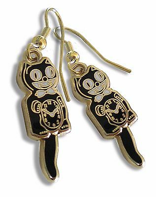 Classic Vintage Retro Kit-Cat Klock Black/Gold Earrings Clock Rolling Eyes Kitty Retro Kit Kat
