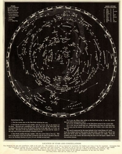 1937 Antique Constellation Map Star Map Vintage Astronomy Zodiac Print 8137