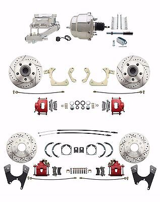 - 1959-1964 Impala Front/ Rear Chrome Power Disc Brake Conversion Kit Red Calipers