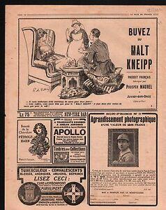 """WWI Pub Reclame Malt Kneipp Pétrole Hahn Pilules Pink Kodak 1916 ILLUSTRATION - France - Commentaires du vendeur : """"OCCASION"""" - France"""