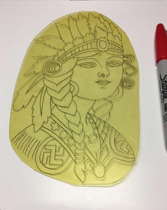 "1930's ""Unique Indian  Princess ""Acetate Tattoo Stencil From Owen Jensen's Files"