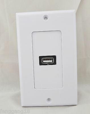 1x Premium 1-Port USB 2.0 Wall Socket Charger PVC Outlet Power Face Plate Panel