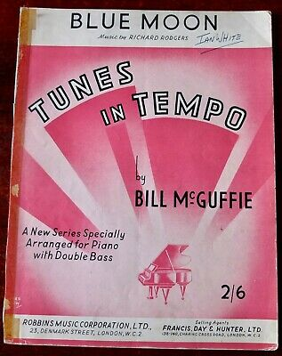RICHARD RODGERS BILL MCGUFFIE BLUE MOON PIANO DOUBLE BASS SHEET MUSIC (1950's)  ()