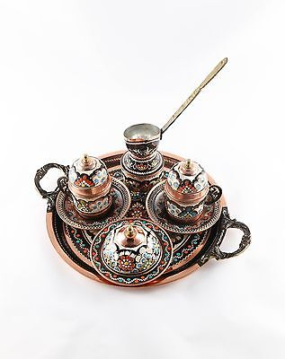 Ritual Design Hand Made Copper Turkish Coffee Set for Two with Coffee Pot