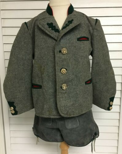 VTG German Bavarian Boys Suede Lederhosen Shorts Suspenders Coat NEUSA Costume