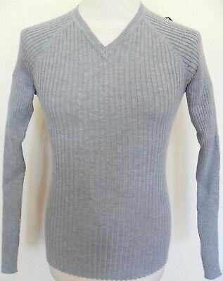 Men's Ribbed Slim Fit Long Sleeve V-Neck Jumper Sweater Top Grey Size: Medium