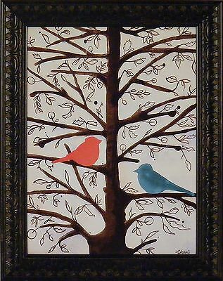 TWO BIRDS IN A TREE by Ninalee Irani 16x20 FRAMED PRINT Red Blue Love Birds