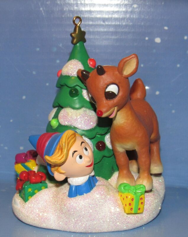 Rudolph and Hermy With Christmas tree Ornament is made of hard resin