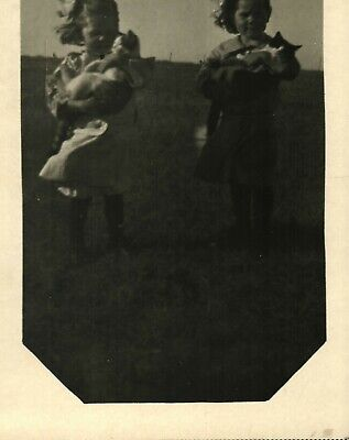 Antique (c.1905) Country Farm Girls w/ Pet Cats RPPC