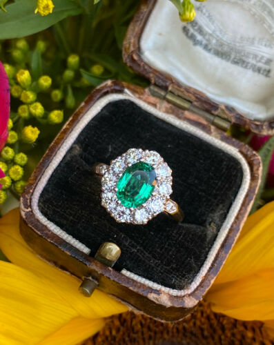 Victorian Emerald and Diamond Cluster Ring Yellow Gold 0.95ct + 1.10ct