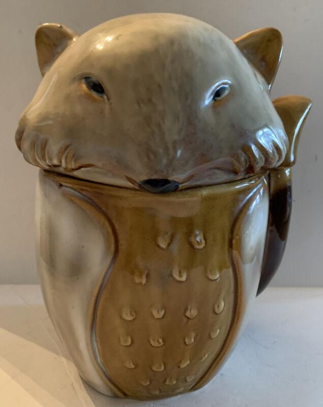 "Abbott Pottery 9.5"" Tall Fox Figure Canister Cookie Jar"