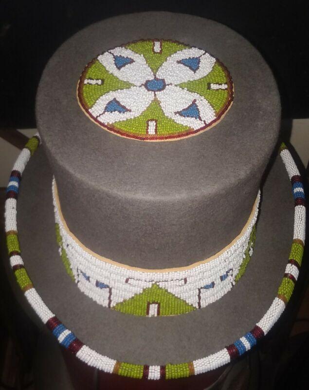 Native American Style Beaded Felt Top Hat