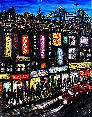 Original Arthur Robins Oil NYC Cityscape Taxis Cars Streets NY Art Times Square
