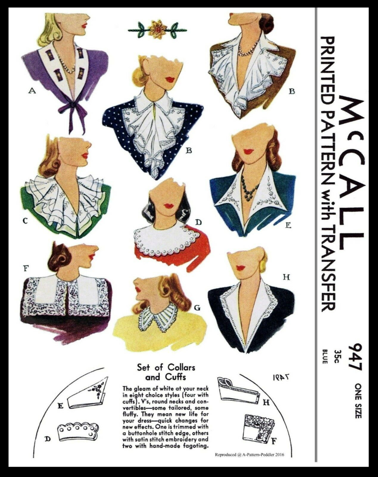 McCALL Pattern #947 9 Collar Jabot and Cuffs Fabric Sewing P