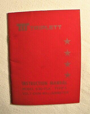 1 Triplett Model 630-plk Volt-ohm-milliammeter Type 5 Instruction Manual