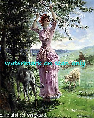 1880 Dupain~Springtime~Pretty Woman~Greyhound Dog~Sheep~ NEW Large Note Cards