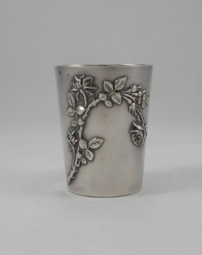 Rare Large Drinking Cup Floral Art Nouveau IN 950er Sterling Silver France