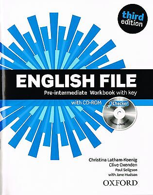 ENGLISH FILE Pre-Intermediate Third Edition Workbook w Key & iChecker CD-ROM NEW