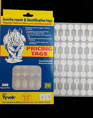 1000 PCS Silver Price Sticker Tags, Jewelry Round Barbell labels Dumbbell tags