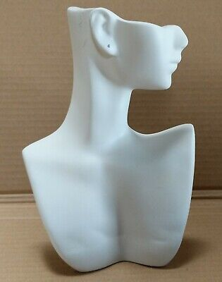 Less Than Perfect 184-a White Self-standing Jewelry Display Bust W Pierced Ear