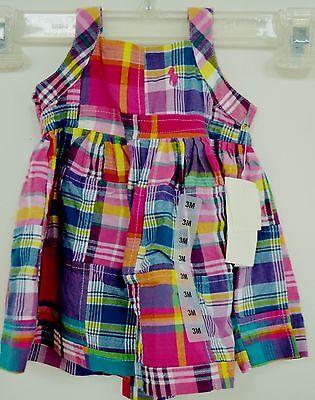 Ralph Lauren Pink Plaid Dress 2PC Diaper Cover Panty NWT Blue White Yellow Green