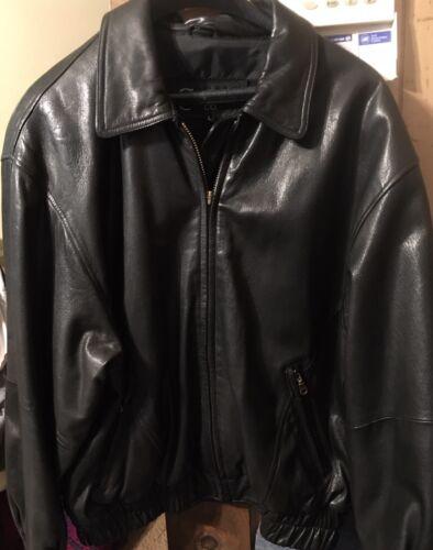 Colebrook Co. Mens Black Leather Bomber Cycle Jacket Coat Size L - $59.95