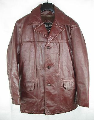0234c1cd925 Mens True Vintage Sears Burgundy Ranch Leather Jacket Size 40 Regular with  Liner
