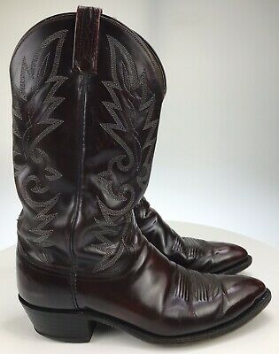 Men's 9.5 D - Double H by Dan Post Black Cherry Leather Pointed Toe Cowboy Boots