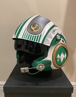 Star Wars Custom Green Power Ranger MMPR X-wing pilot Costume helmet Movie Prop (Mmpr Green Ranger Costume)