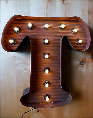 Lg Brown Vintage Style Light Up Marquee Letter T 24 Tall Metal Rustic Sign