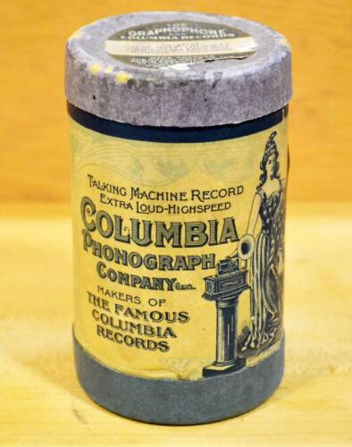 EARLY VINTAGE COLUMBIA PHONOGRAPH CO. CYLINDER TYPE AUDIO RECORD, NICE!
