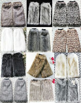 Women Faux Fur Leg Warmers Fluffy Shaggy Boot Shoes Covers Ankle Sleeve Muffs](Fluffy Boot Covers)