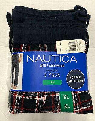 New Nautica Men's XL Fleece Pajama Pants 2 Pack Navy Checkered/Red Plaid w/tags
