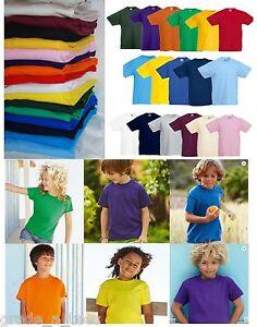 Fruit-of-the-Loom-Kids-T-Shirt-Blank-Plain-School-PE-Uniform-Top-Boys-or-Girls