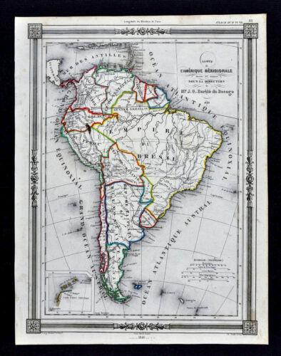 1846 Bocage Map - South America - Brazil Empire Argentina Chili Peru Colombia