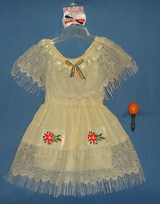 Mexican dress girls-4-6-Cinco de Mayo fiesta costume-peasant-hair - Cinco De Mayo Girl Kostüme