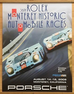 "Original Porsche Vintage Racing Poster 34x26""Rare Rolex Monterey Sign Hatch"