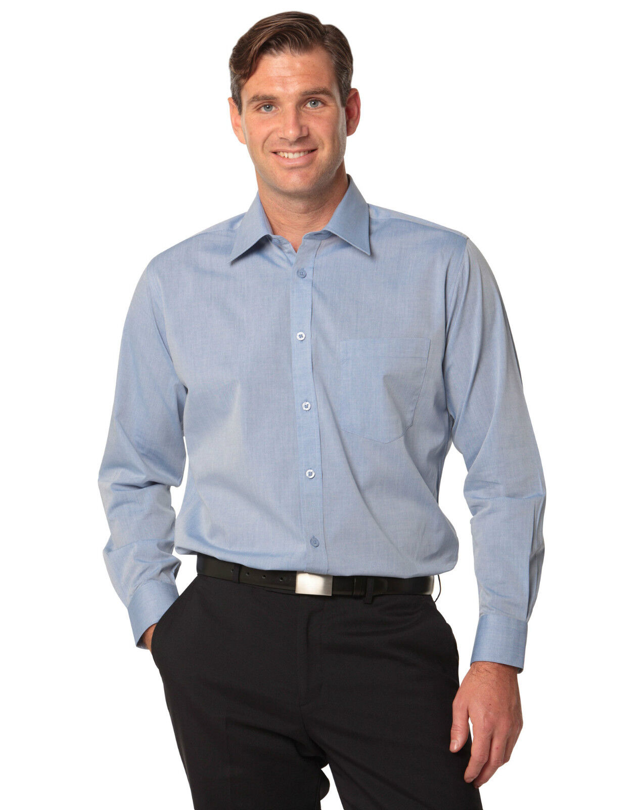 a4ba32a4824 Details about NEW MENS FINE CHAMBRAY LONG SLEEVE BUSINESS CASUAL WORK DRESS  MEN S SHIRT