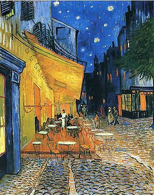 """Cafe Terrace At Night by Vincent Van Gogh, 8""""x10.25"""", Giclee Canvas Print"""