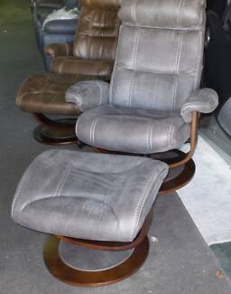 SINGLE ARMCHAIR RECLINER AND FOOTSTOOL IN GREY FABRIC